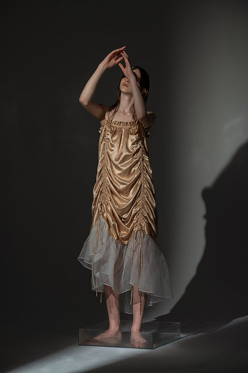 PSEUDO/POEMS CIULLA Acetate Camisole Dress with Silk Organza Hemline