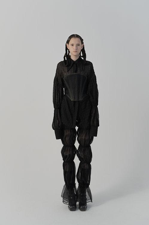 PSEUDO/POEMS Velia Black Pleated Pointed Collar Texture Shirt