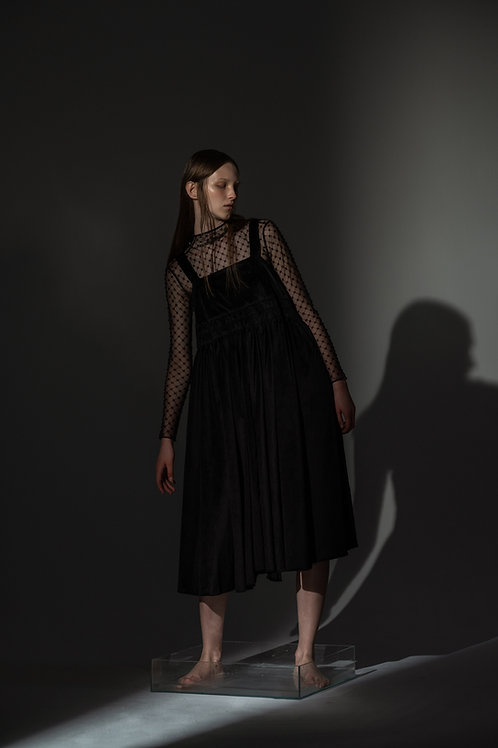 PSEUDO/POEMS CLEMENT Black Velvet Dress with Silk Organza