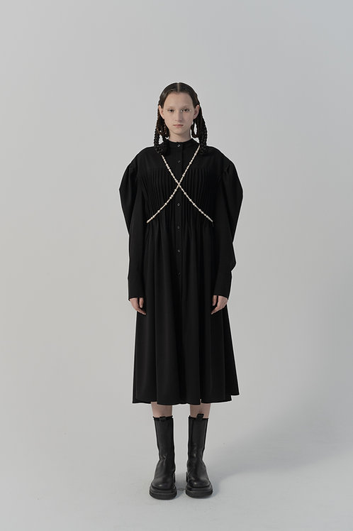 PSEUDO/POEMS Busia Black Pleated Long Shirt Dress