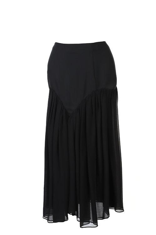 PSEUDO/POEMS Lemme Black Stitching Chiffon Smocked Skirt