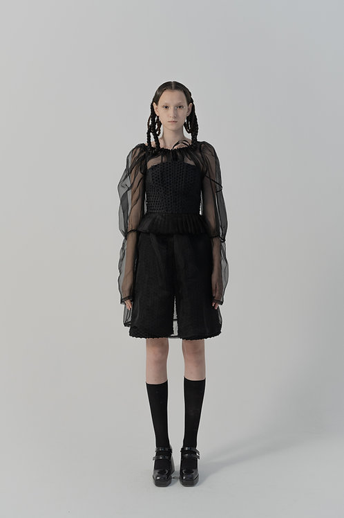 PSEUDO/POEMS Ciaffi Black Silk Organza Collar Blouse Dress