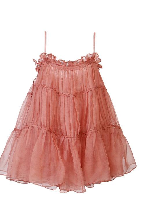 PSEUDO/POEMS Florisa Orange Silk Suspender Tutu Skirt
