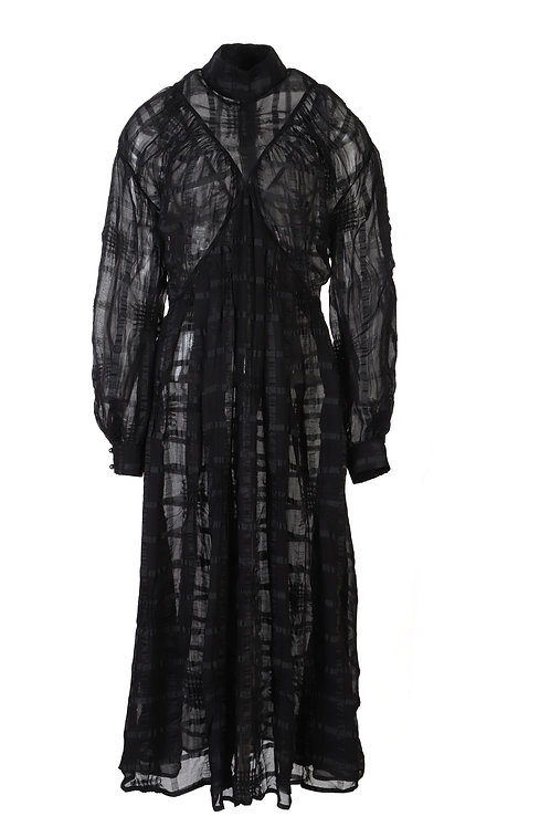 PSEUDO/POEMS Fia Black Textured Fabric High Neck Dress