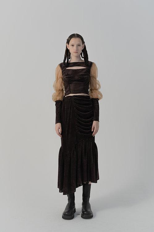 PSEUDO/POEMS Vieta Brown Velvet Irregular Pleated Skirt