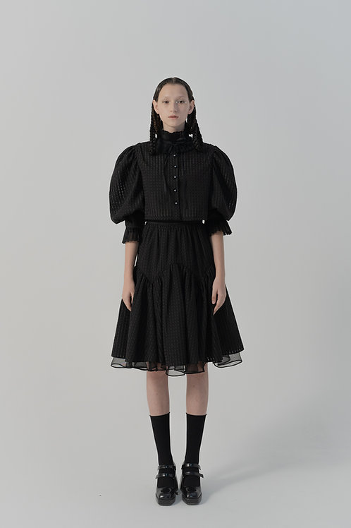 PSEUDO/POEMS Nafissi Black Fine Plaid Bust Tutu Skirt