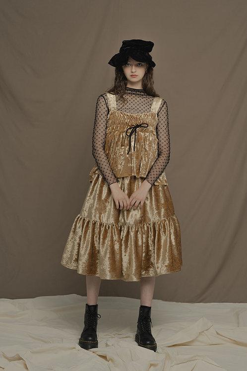 PSEUDO/POEMS SCARLETT Textured Velvet Backless Top
