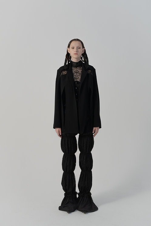 PSEUDO/POEMS Ulivi Black Lace Smocked Bubble Trousers