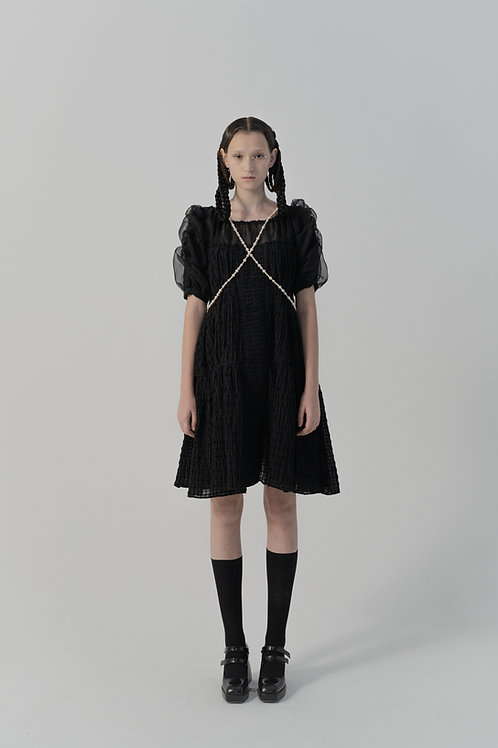 PSEUDO/POEMS Esperia Black Textured Wool Check Puff Sleeve Dress