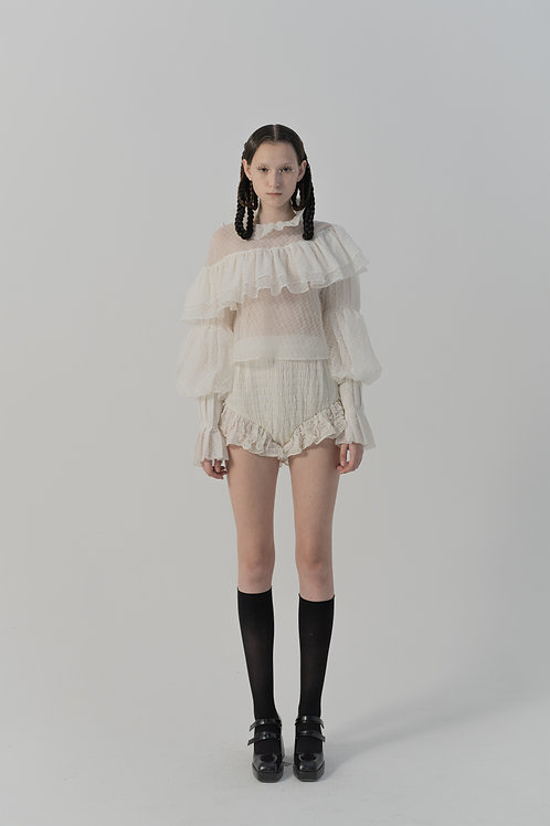 PSEUDO/POEMS Orsina White Silk Salted Fabric Pleated Lace Shirt