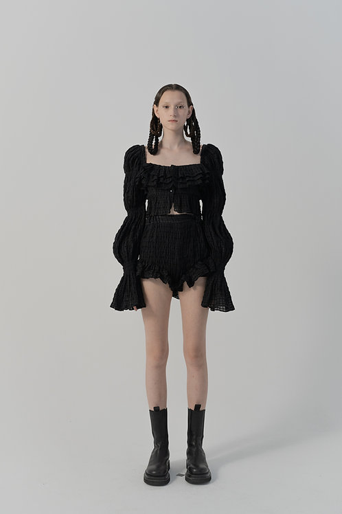PSEUDO/POEMS Olivola Black Texture Wool Check Bud Shorts