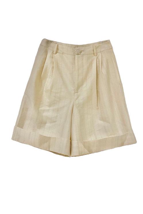 PSEUDO/POEMS Poscia White Wool Jacquard Trousers