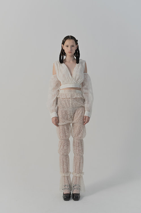 PSEUDO/POEMS Ulivi White Lace Smocked Bubble Trousers