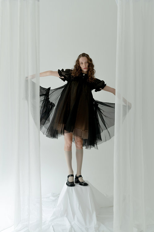 PSEUDO/POEMS AVERY Silk Black Handkerchief Skirt