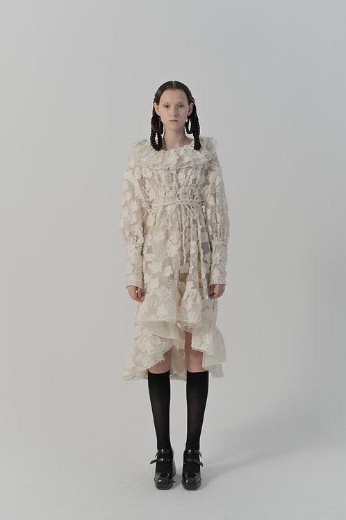 PSEUDO/POEMS Enrica White Jacquard Flower Doll Collar Open Back Dress