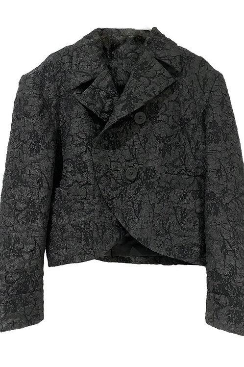 PSEUDO/POEMS Celia Black Stretch Jacquard Morning Dress Short Coat
