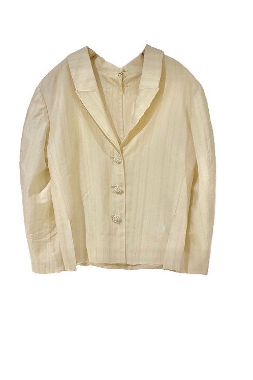 PSEUDO/POEMS Valenza White Wool Jacquard Reversible Jacket