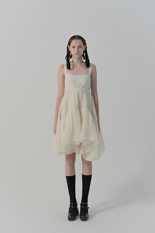 PSEUDO/POEMS Caiaffa White Texture Wool Check Tie Dress