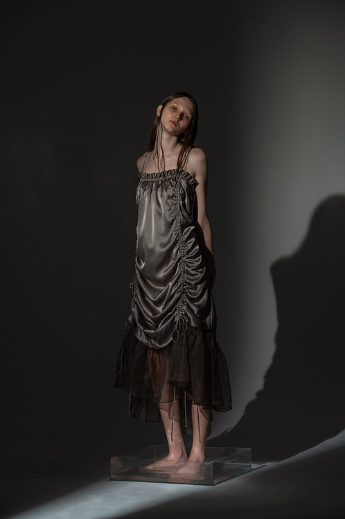 PSEUDO/POEMS CIULLA Triacetate  Camisole Dress with Silk Organza Hemline