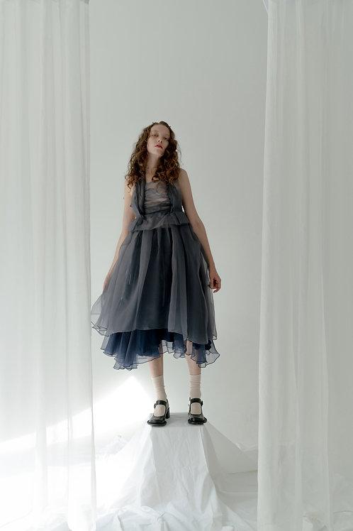 PSEUDO/POEMS IRENE Gradient Irregular Silk Dress with Bowtie on the Neck