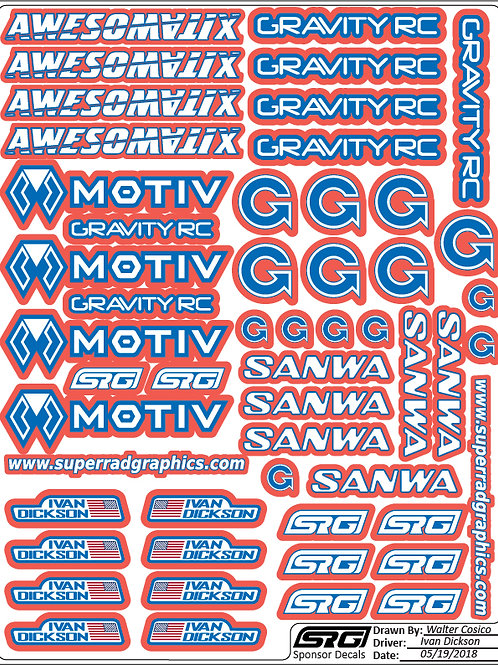"RC car decals 8.5"" x 11"""