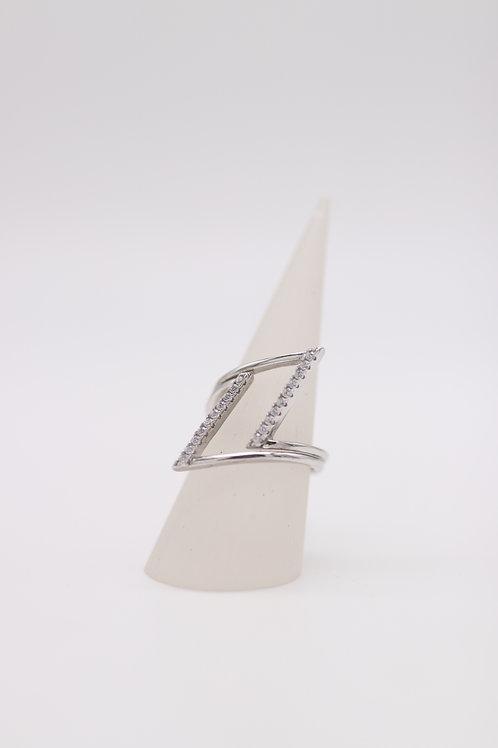 Moderner Silberring mit Zirkonia