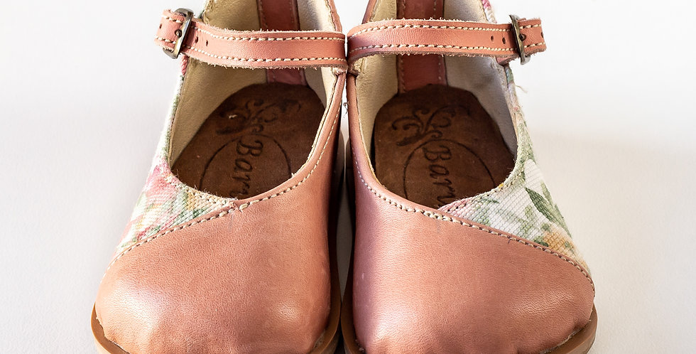Petro Kiddies Leather Shoes - Pink & Floral