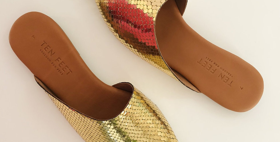 Tapered Mule - Gold Textured