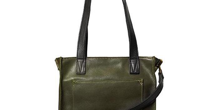 Antelo Ava Crossbody Leather Tote - Olive & Black