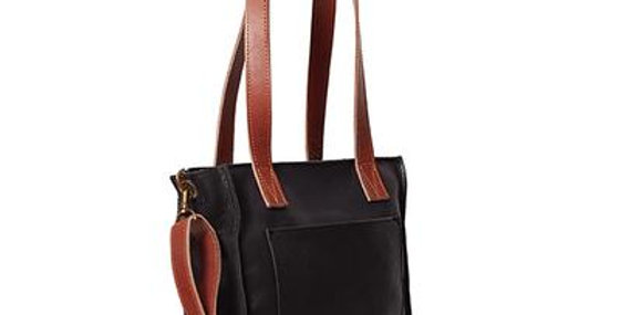 Antelo Ava Crossbody Leather Tote - Black & Tan