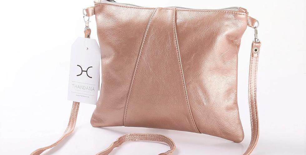 Thandana Crossover Metallic Leather Handbag - Rose Gold