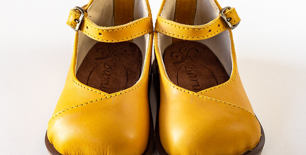 Petro Kiddies Leather Shoes - Mustard