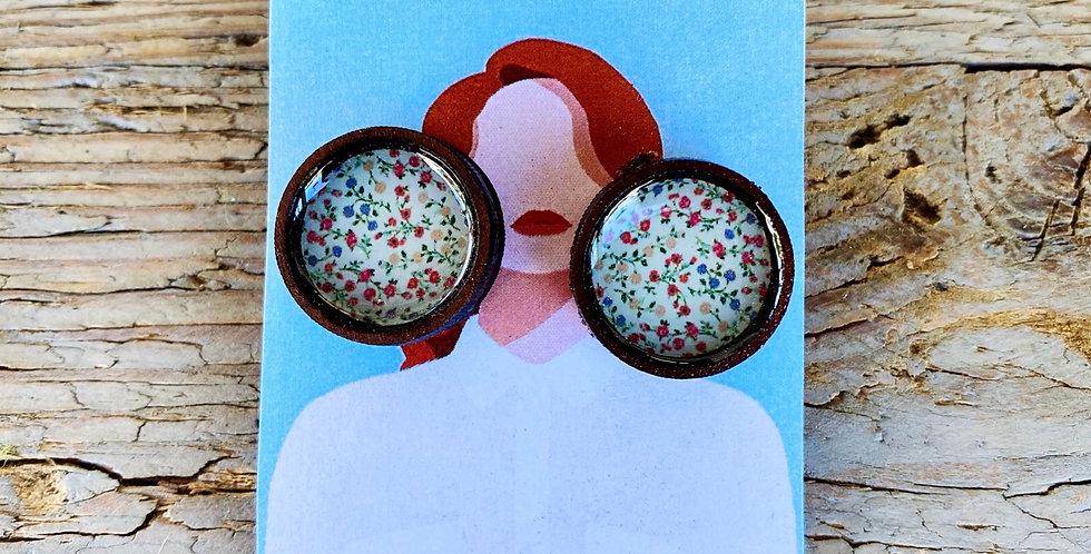 Wooden Stud Earrings - Dainty Flower