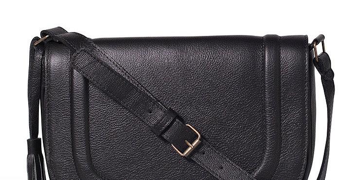 Willow Tree Leather Saddle Bag - Black