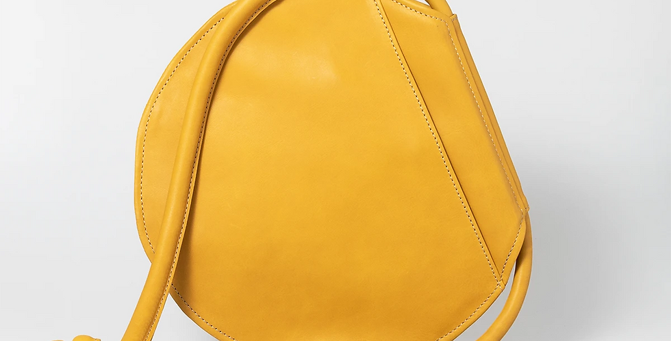 Thandana Chloe Round Leather Handbag - Mustard