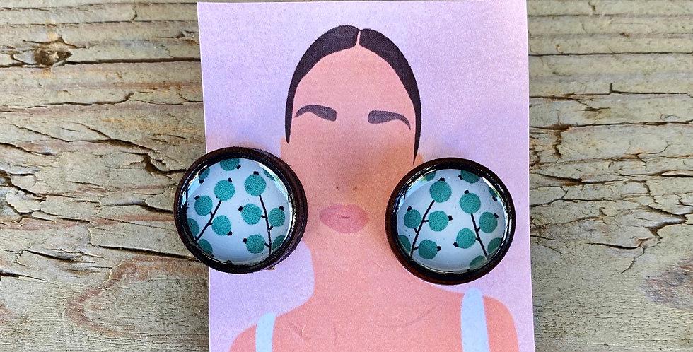 Wooden Stud Earrings - Green Apples