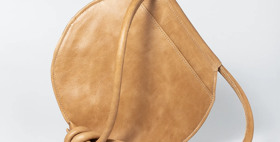 Thandana Chloe Round Leather Bag - Hazelnut