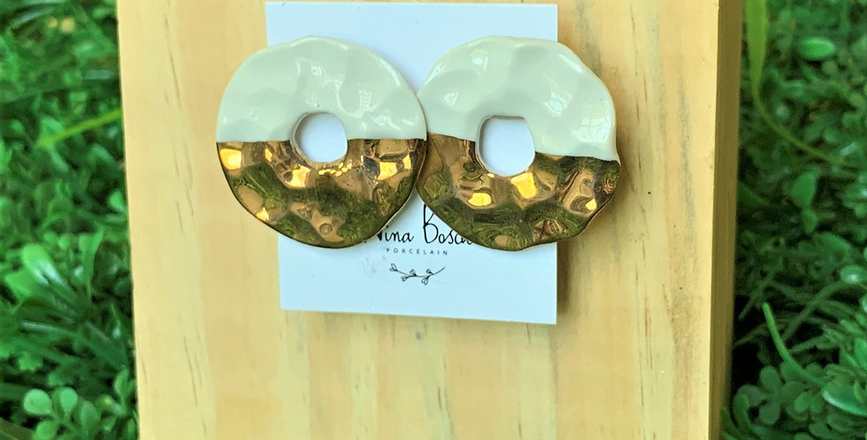 Nina Bosch Cut Out Hammered Round Earrings