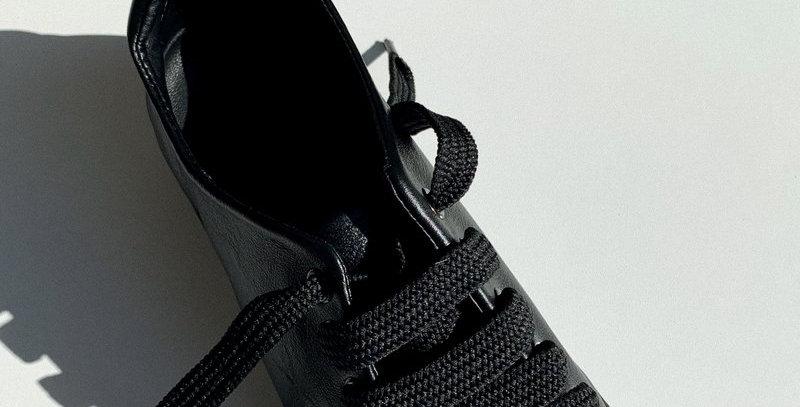 Sweet Peas Black Leather Sneakers