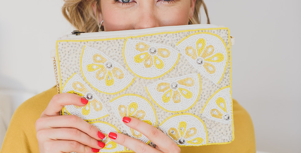Beaded Clutch Bag - Lemon