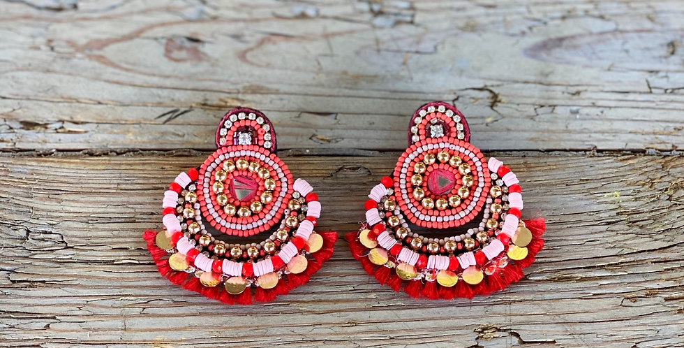 Beaded Disc Statement Earring