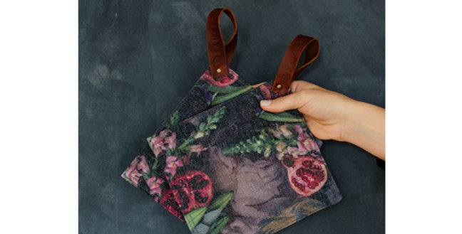 Samesyn Potholders - Pomegranate with Flowers
