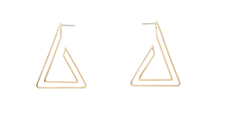 Triangle Frame Gold Hoops