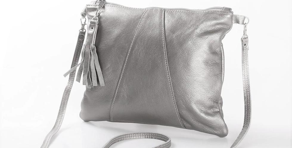 Thandana Crossover Metallic Leather Handbag - Silver