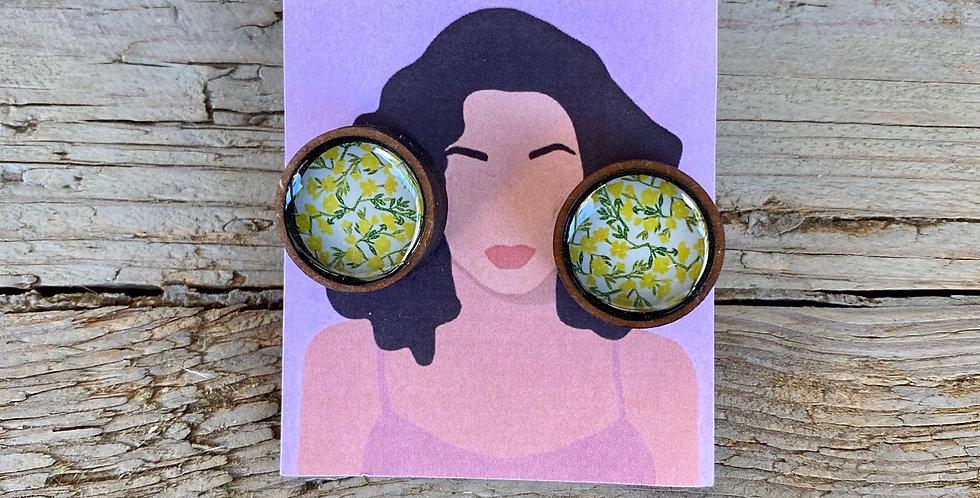 Wooden Stud Earrings - Daffodils