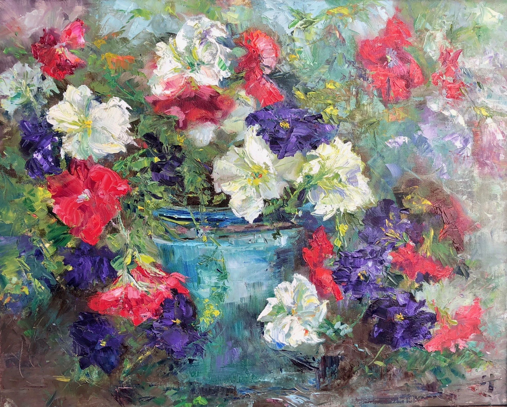 Red White and Blue Petunias