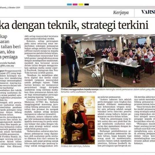 Coach Fir di Berita Harian - Slot kerjaya - Teknik & Strategi Pemasaran Online