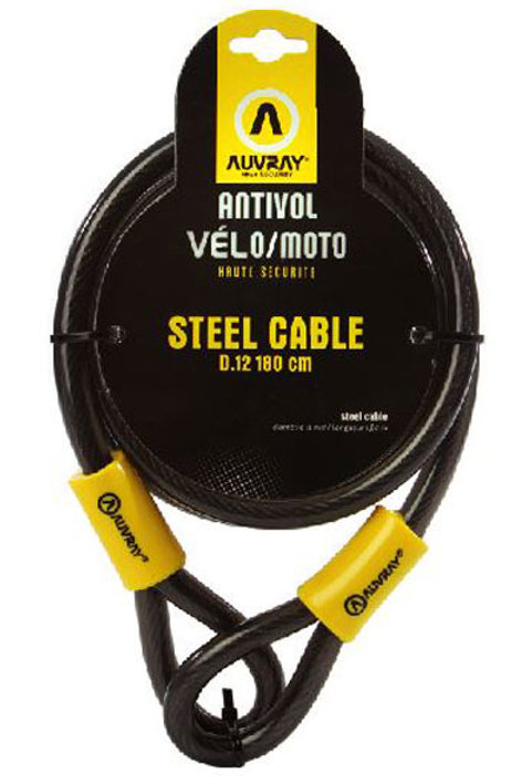Antivol cable vélo et moto AUVRAY STELLCABLE  - 12mm