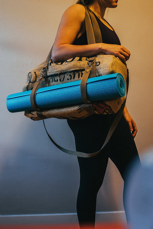Upcycled Burlap Yoga Bag