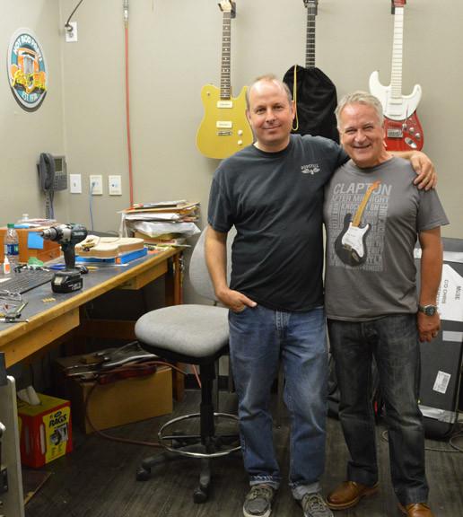 Uber Builder Scott Buehl and Gary Davies at the Fender Custom Shop